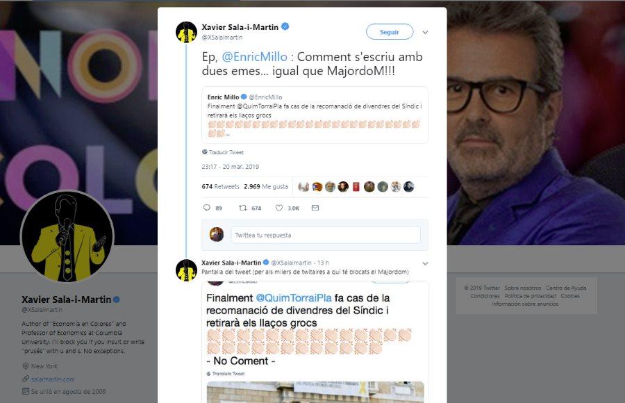 Por qué he bloqueado a Xavier Sala i Martín en Twitter